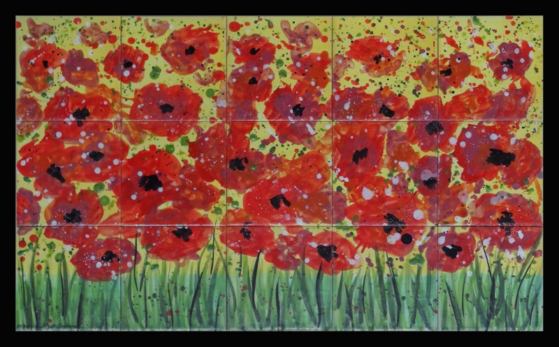 mural ceramic amapolas poppies