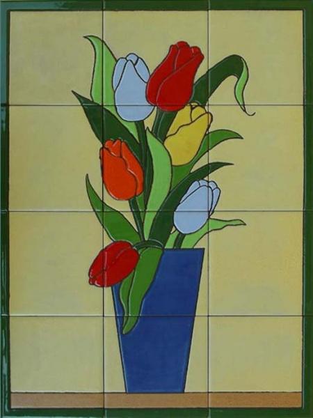 Bodegones y flores murales de cer mica - Fotos jarrones con flores ...